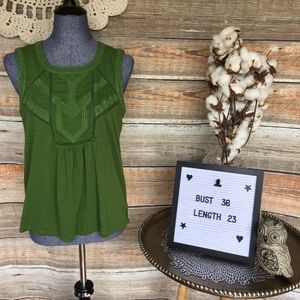 Caslon Green Embroidered Tank Top